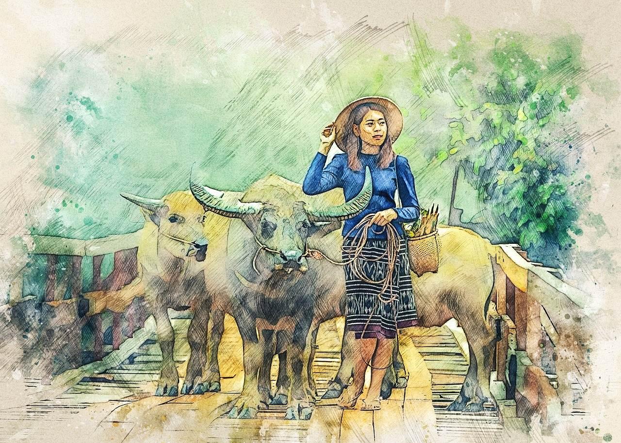 En Camboya puedes comprar pintura y arte Camboyano; por eso mostramos esta pintura como ejemplo de arte