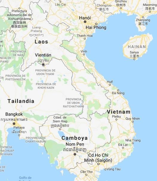 Mapa de Vietnam, Laos y Camboya