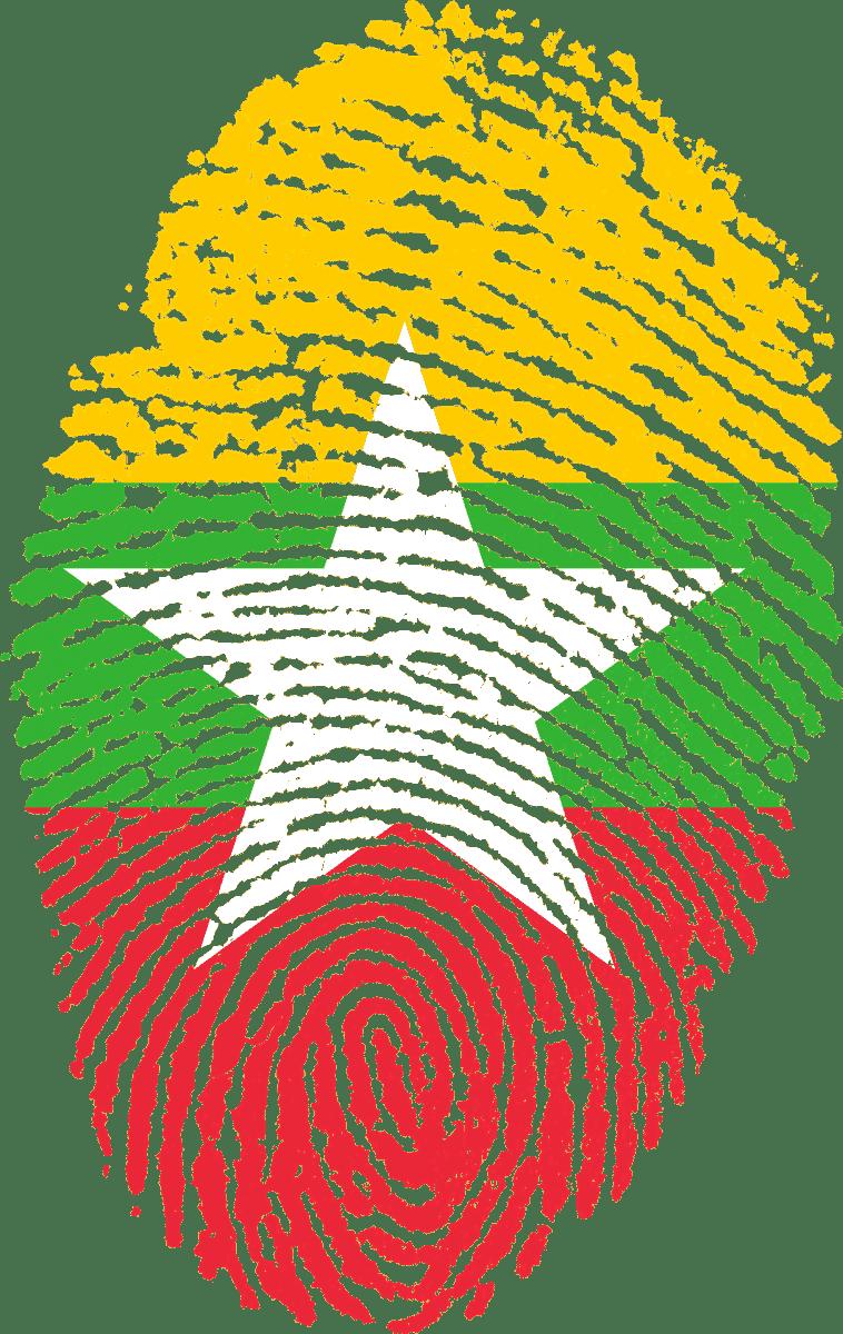 huella dactilar con la bandera de myanmar