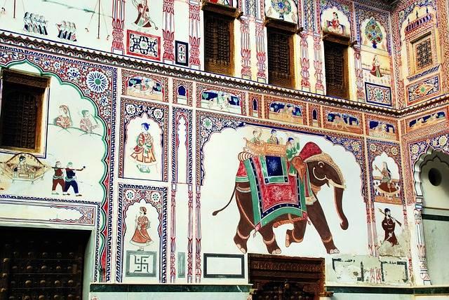 Mural de un haveli de Shekhawati
