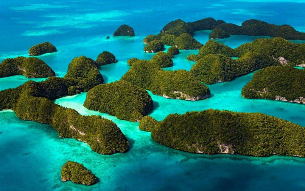 Vista aérea de islotes en Andaman
