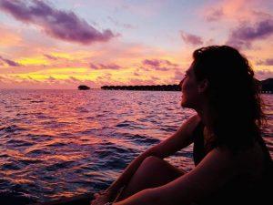 Atardecer en Maldivas con Sofía