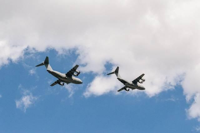 Aviones en un cielo azul