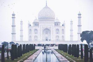 Panorámica frontal de Taj Mahal, India