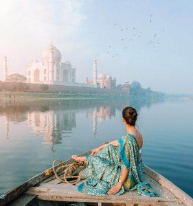 Paisaje en barco en India