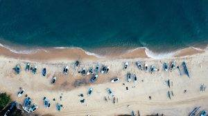 Vista aérea de una playa de Maldivas