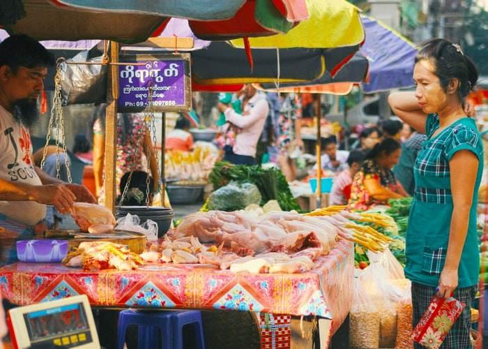 Mercado en Birmania