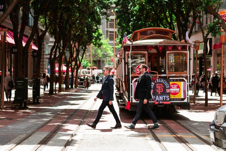 Tranvías y viandantes en San Francisco