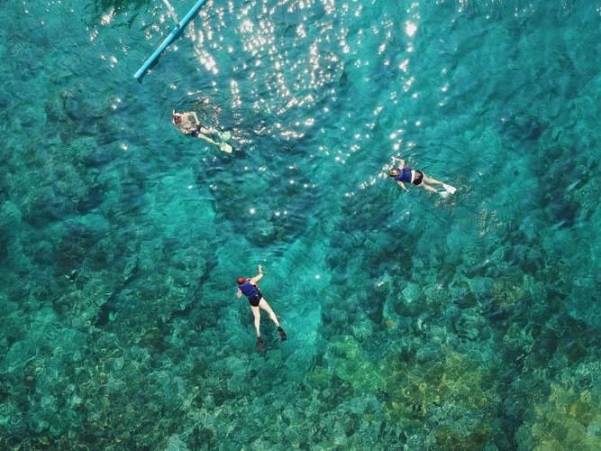Practicando snorkel en las aguas de Indonesia