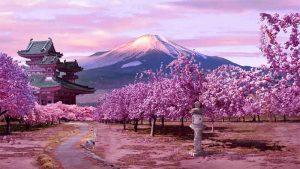 Monte Fuji con cerezos en flor