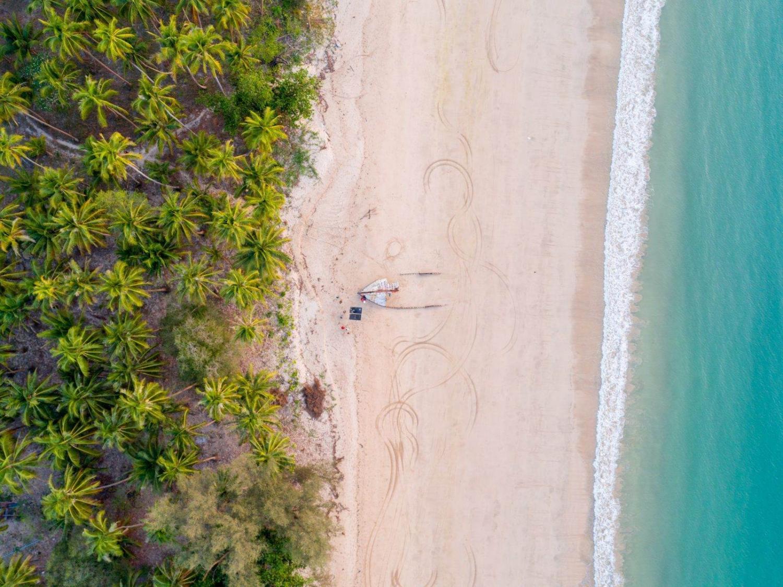 Vista aérea de una playa de Ngapali en Birmania