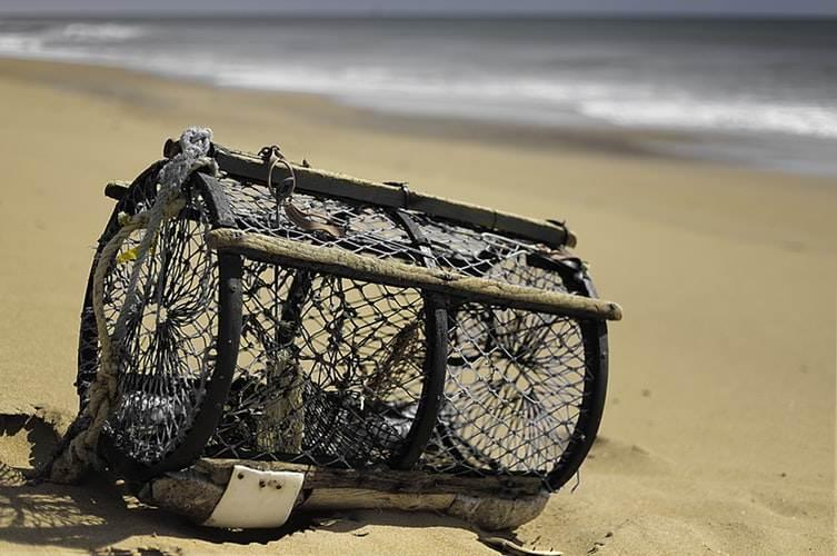 Utensilio de pesca en la arena de Arambol Beach