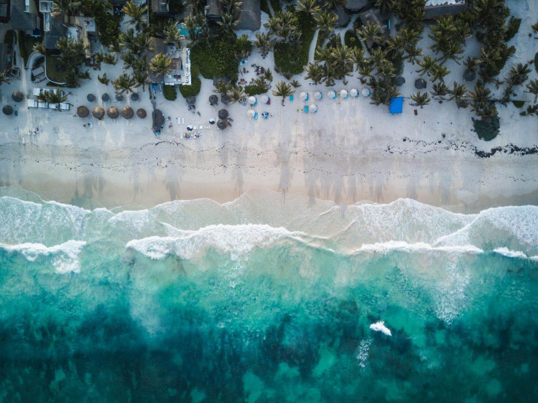 playa de la riviera maya desde arriba