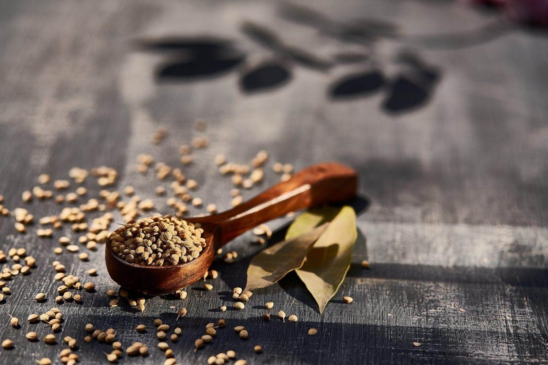 cucharada de madera con comino en grano